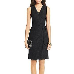 Diane Von Furstenburg Lace Wrap Dress Black